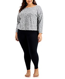 Plus Size Super Soft Crew Sleep Top & Solid Leggings, Created for Macy's