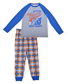 Big Boys Varsity Plaid 2 Piece Pajama Set with Cozy Socks