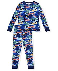 Big Boys Camo Print Tight Fit Pajama Set, 2 Piece