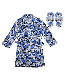 Big Boys Camo Print Flannel Fleece Robe with Slippers