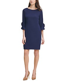 Scuba Crepe 3/4-Ruffle-Sleeve Sheath Dress