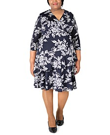 Plus Size Printed Ruffle Fit & Flare Dress