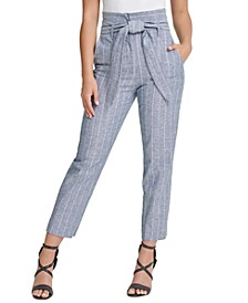 Petite Striped Belted Pants