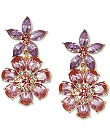 Gold-Tone Multi-Crystal Flower Drop Earrings, Created for Macy's
