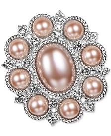 Silver-Tone Pavé & Imitation Pearl Oval Pin, Created for Macy's