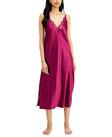 Lace-Trim Long Satin Chemise Nightgown, Created for Macy's