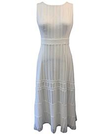 Embroidered Chiffon Midi Dress