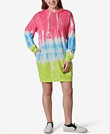 Juniors' Tie-Dye Fleece Hoodie Dress