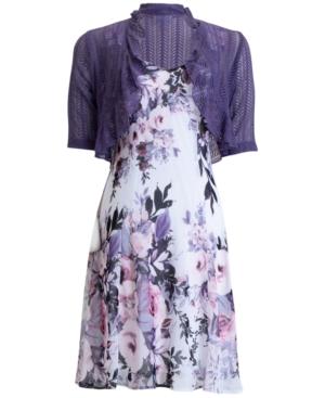 Connected Dresses PLUS SIZE FLORAL-PRINT JACKET DRESS