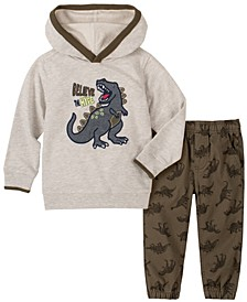 Toddler Boys 2-Piece Boys Heathered Dino Fleece Hoody with Dino Print Twill Jogger Pants Set