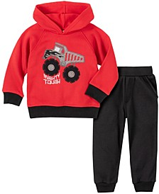 Little Boys 2-Piece Dump Truck Fleece Top with Fleece Pant Set
