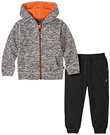 Toddler Boys 2-Piece Marled Fleece Zip-Front Lined Hoody with Fleece Pant Set