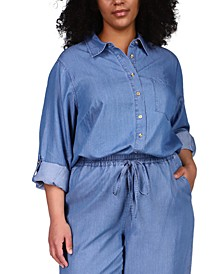 Plus Size Button-Up Chambray Shirt