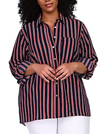 Plus Size Striped Tunic Shirt