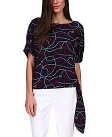 Printed Sailor Side-Tie Top