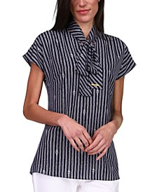Knot-Striped Tie-Neck Top