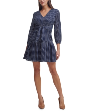 Tommy Hilfiger TIE-FRONT FIT & FLARE DRESS
