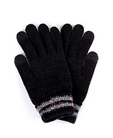 Striped Cuff Touchscreen Glove with Cozy Lining