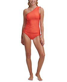 One-Shoulder Tankini Top & Side-Tie Bottoms