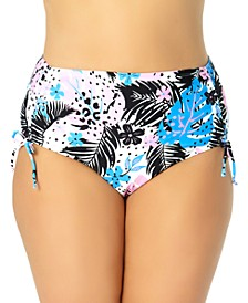 California Waves Trendy Plus Size Strappy Floral Bikini Bottoms, Created for Macy's