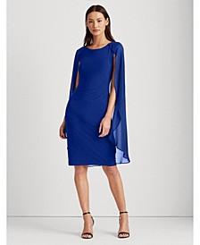 Georgette-Cape Jersey Dress