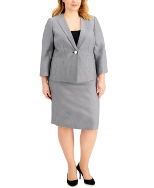 Plus Size Jacquard Skirt Suit