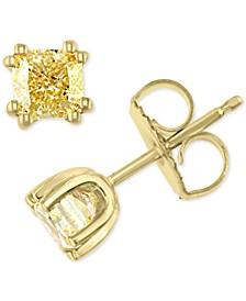 EFFY® Yellow Diamond Cushion-Cut Stud Earrings (1 ct. t.w.) in 18k Gold