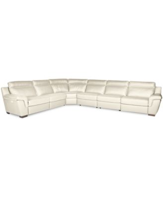 Julius 6 Pc Leather Sectional Sofa With 2 Power Recliners, Created For  Macyu0027s. Furniture