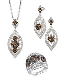 Chocolate Diamond & Nude Diamond Marquise Cluster Jewelry Collection in 14k White Gold