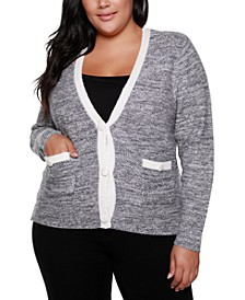 Black Label Plus Size V-Neck Button Down Sweater With Pockets