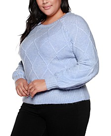 Black Label Plus Size Balloon Sleeve Cable Pullover Sweater
