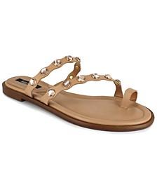 Women's Malka Imitation Pearl-Ornamented Toe-Ring Flat Sandals
