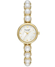 Monroe Gold-Tone Stainless Steel & Faux Pearl Bracelet Watch 24mm