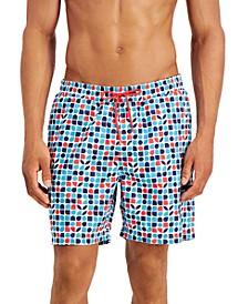 "Men's Regular-Fit Quick-Dry Geo-Print 7"" Swim Trunks, Created for Macy's"