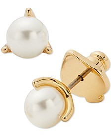 Gold-Tone Imitation Pearl 3-Prong Mini Stud Earrings