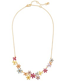 "Gold-Tone Multicolor Cubic Zirconia Flower Cluster Statement Necklace, 17"" + 3"" extender"