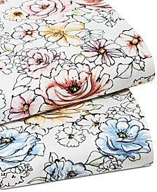 Outline Floral 550 Thread Count Supima Cotton Sheet Sets, Created for Macy's