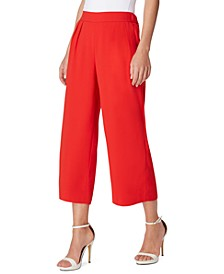 Pull-On Pleat-Front Cropped Wide-Leg Pants