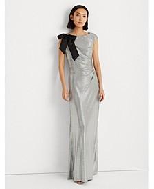 Bow-Trim Metallic Gown