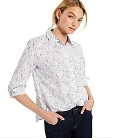 Daisy-Print Roll-Tab Cotton Shirt