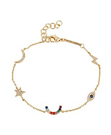 Gold Flash-Plated Multi-Color Cubic Zirconia Charm Bracelet