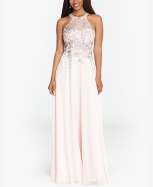 Betsy & Adam Gowns EMBELLISHED CHIFFON ILLUSION GOWN