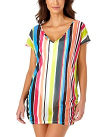 Clearwater Stripe V-Neck Mesh Tunic Cover-Up