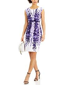 Petite Printed Belted Sheath Dress