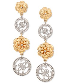 Pavé & Flower Quatro G Linear Drop Earrings