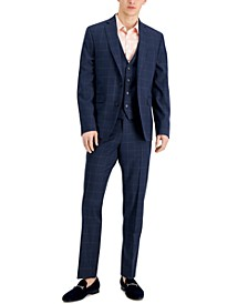 Men's Slim-Fit Blue Windowpane Plaid Vested Suit Separates, Created for Macy's