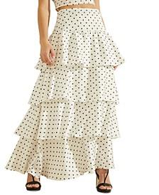 Nadia Polka-Dot Ruffle Maxi Skirt