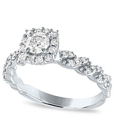 Diamond Cushion Halo Engagement Ring (5/8 ct. t.w.) in 14k White Gold