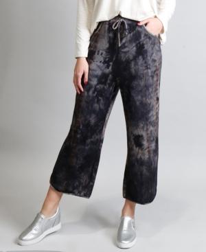 Women's Cozy Tie-Dye Cropped Vent Hem Pants