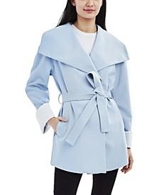 Belted Drape Front Crepe Coat